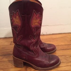 Purple Frye CowGIRL boots 7.5